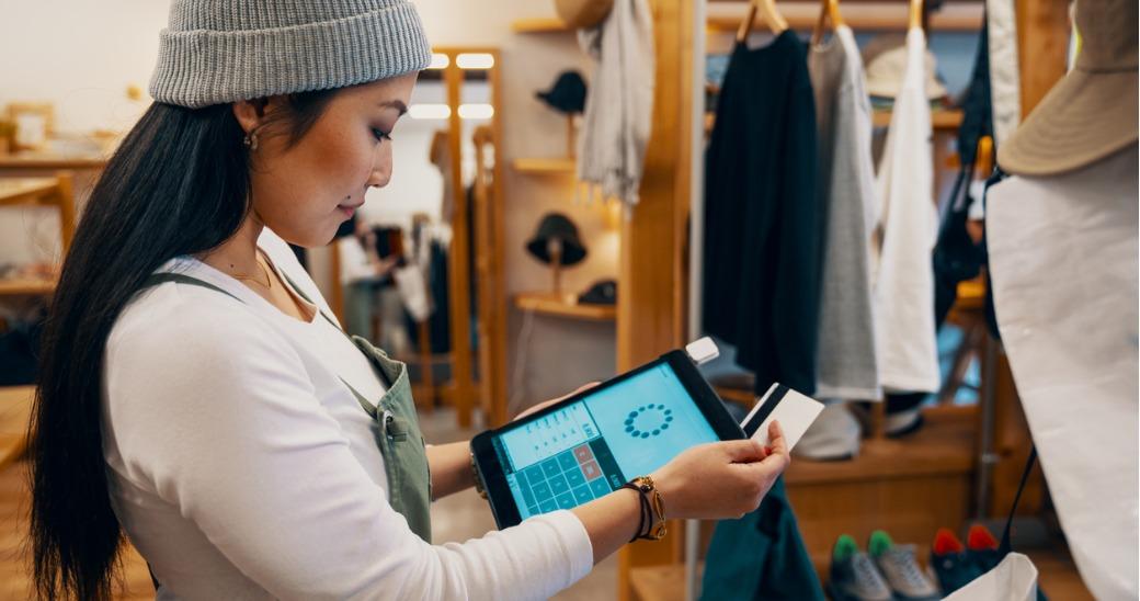Customer using ipad in store